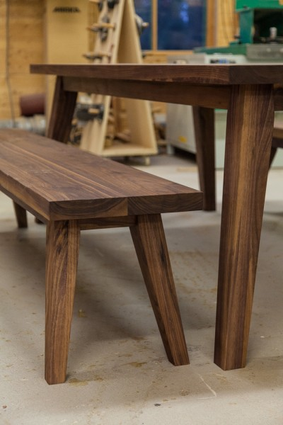 A table and benches from walnut