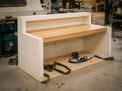 A service counter surfaced with Corian