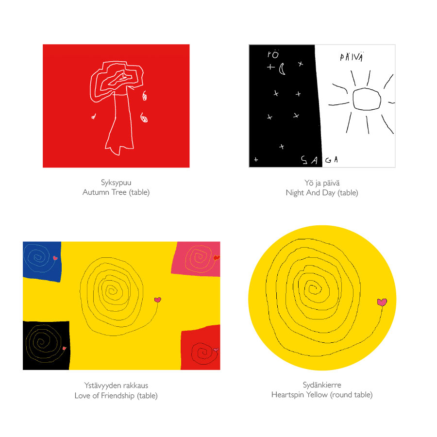 Tarina pöytien kuosit / Tarina table prints